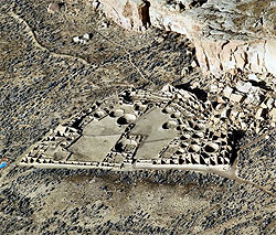 Aerial view of Pueblo Bonito
